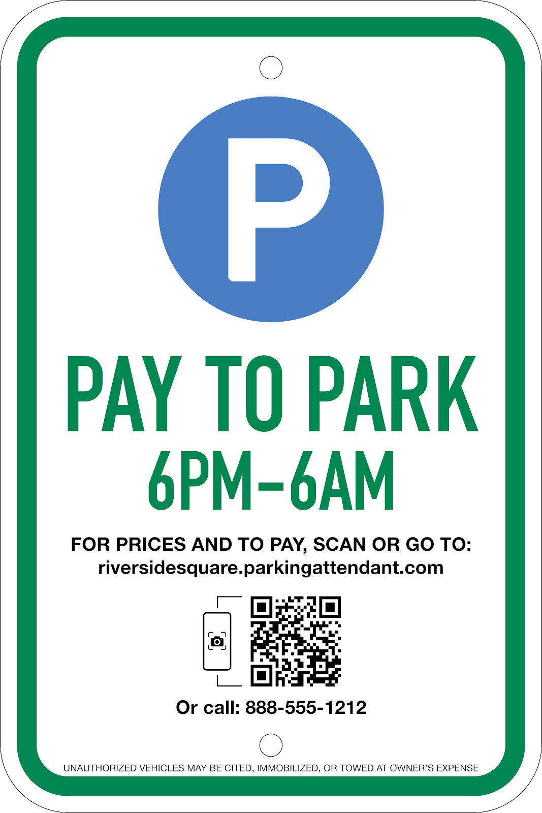 Pay-to-Park Sign: Option #1, 12X18