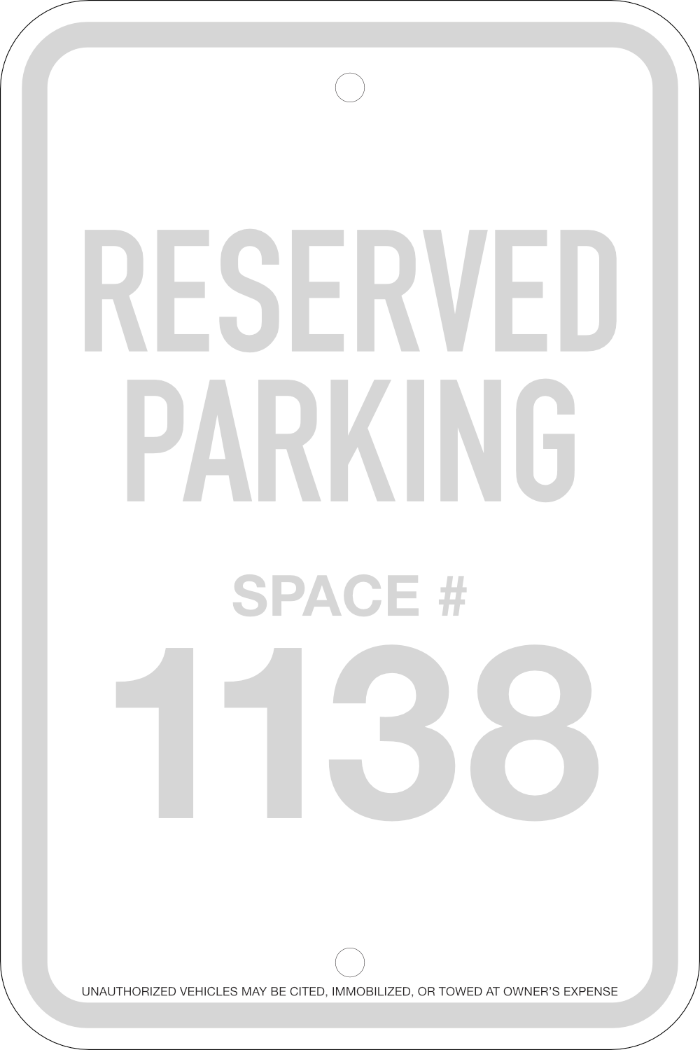 Reserved Space Parking Signs, 12x18
