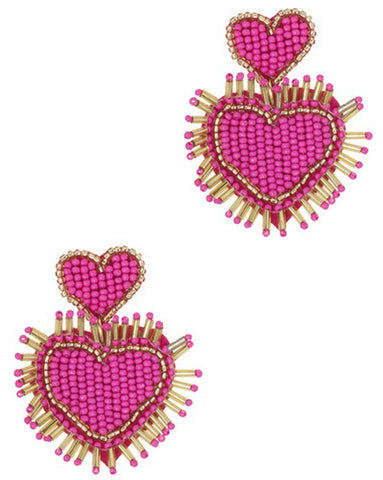 Beaded Double Heart Earrings