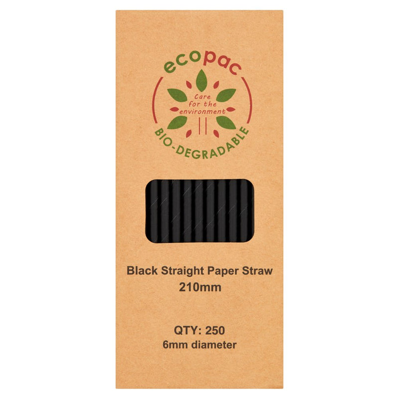 Ecopac Bio-Degradable 250 Black Colour Straight Paper Straw 210mm - Cheapest Drinks Online