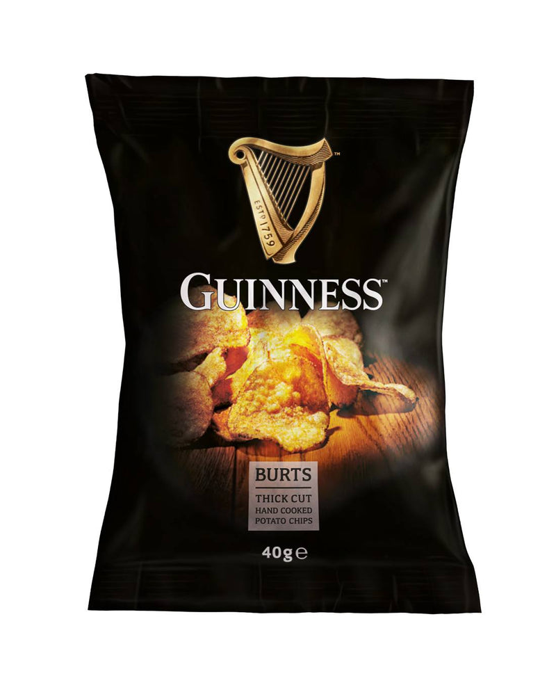 Burts Guinness Thick Cut Hand Cooked Potato Chips 40g x 20 Case - Shop Mini Kegs