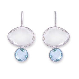 Bianc Sterling Silver Clear Quartz & Blue Topaz Earrings