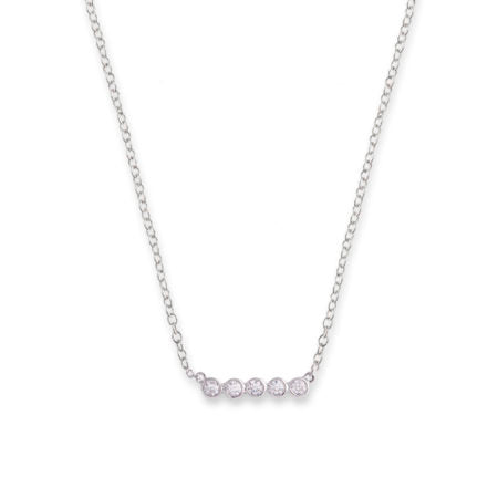 Bianc Silver CZ Bezel Bar Necklace
