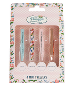 4 Piece Mini Tweezer Set rose gold pink