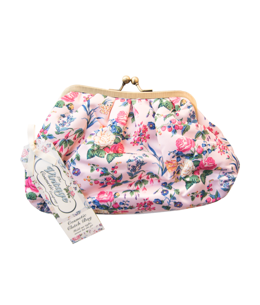 Cosmetic Clutch Bag in Pink Floral Satin