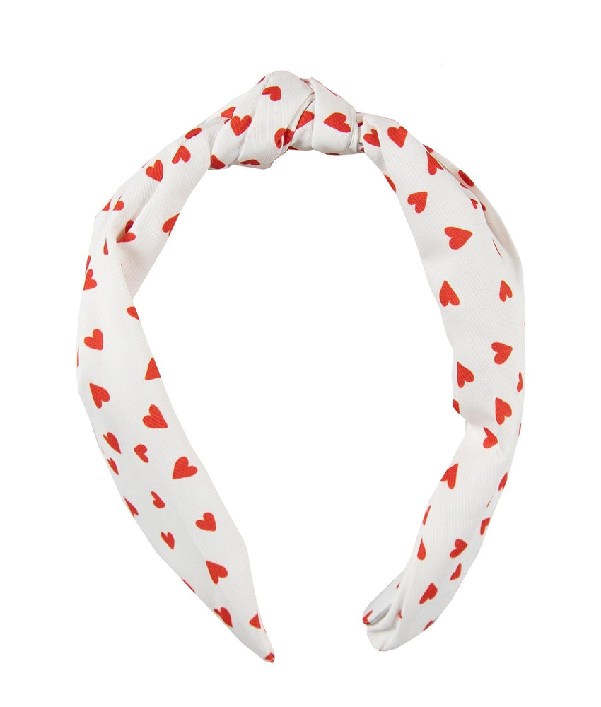 Knotted Headband Heart Print