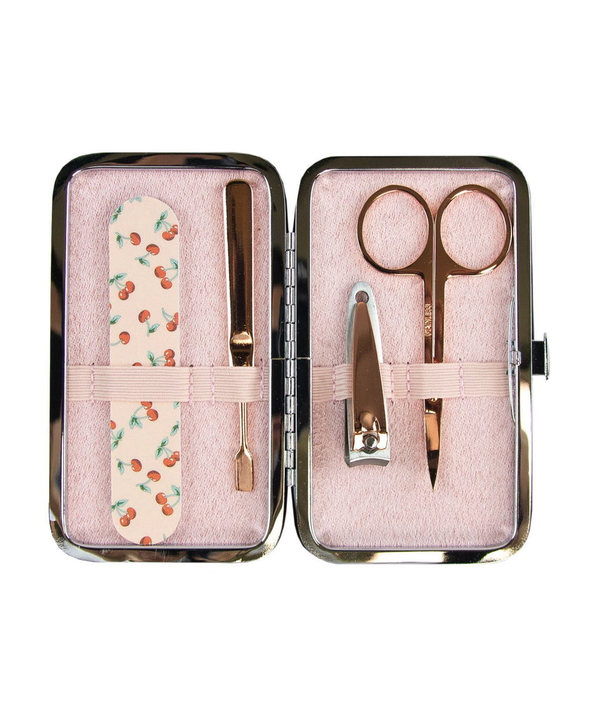 Manicure purse sweet cherry rose gold tools