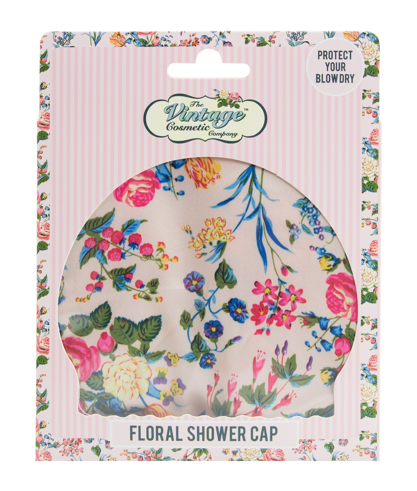 Shower Cap Pink Floral Satin