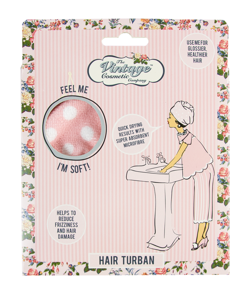Hair Turban Pink Polka Dot packaging