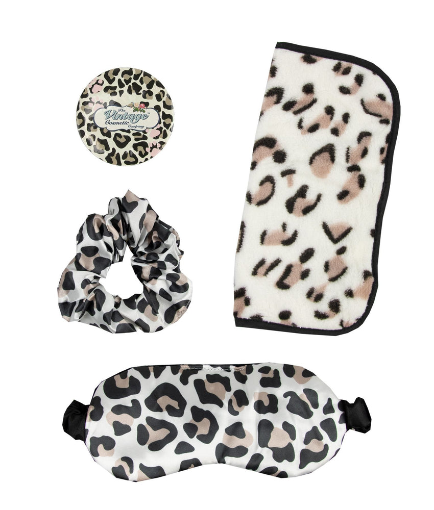 leopard print scrunchie, sleep mask, makeup removing cloth and badge mirror