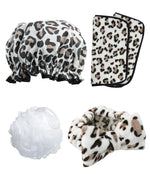 Totally Pampered Leopard Print shower cap head band make up removing cloth
