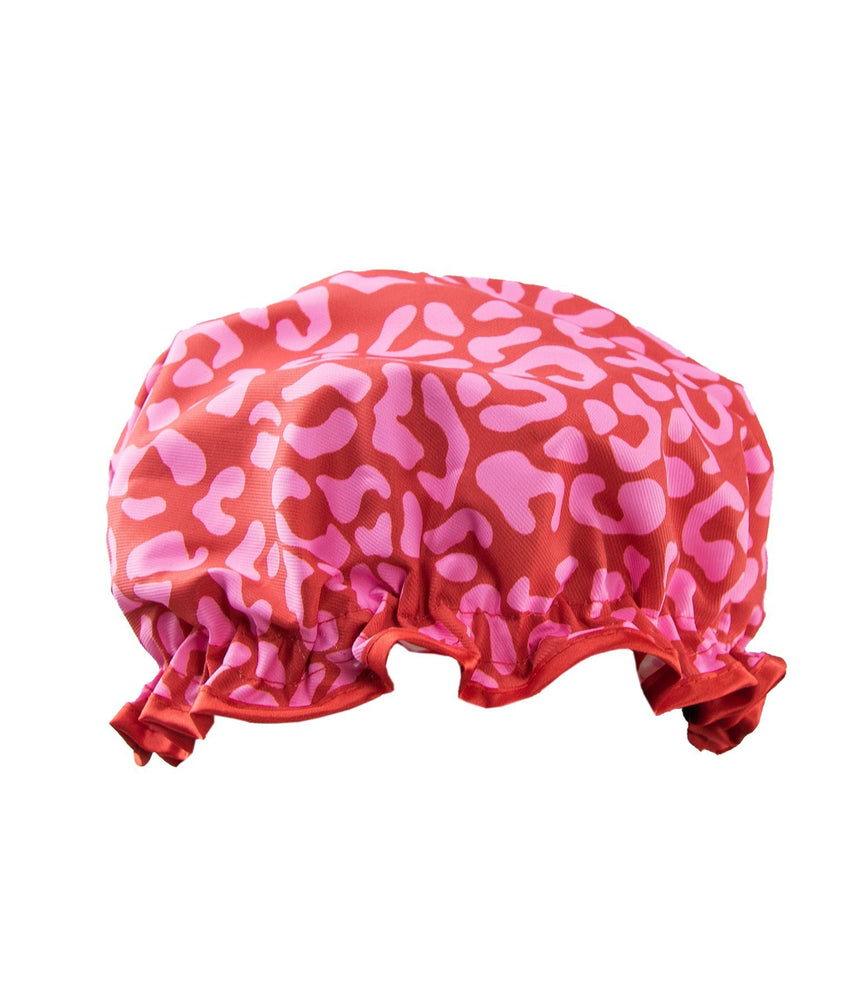 Shower cap red and pink leopard print