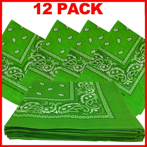 Light Green Bandana - Dozen (Paisley) - HomeTex.ca