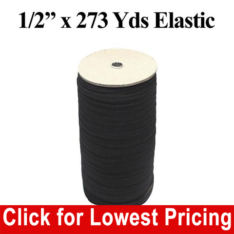 "1/2"" Black Elastic Roll (273 Yards) - HomeTex.ca"