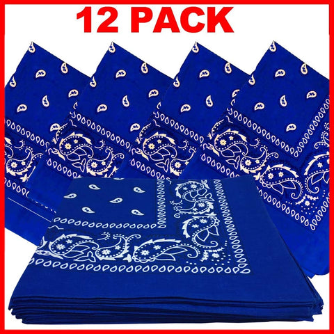 Royal Blue Bandana - Dozen (Paisley) - HomeTex.ca