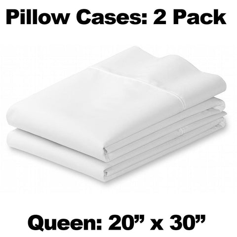Pair of White Pillow Cases - Queen Size - HomeTex.ca