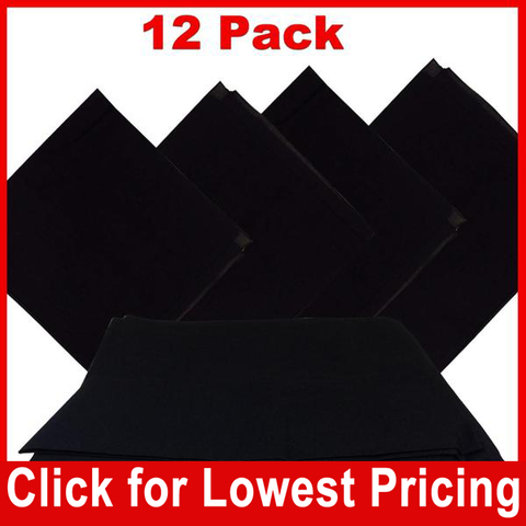 Black Bandana - 100% Cotton - Solid Color - 12 Pack - HomeTex.ca