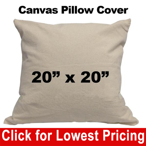 "Blank Cotton Canvas Pillow Cover - 20"" x 20"" - HomeTex.ca"