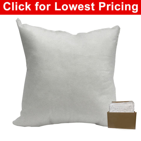 "Pillow Form 16"" x 16"" (Polyester Fill) (Case Lot - 25 Pcs) (Individually Bagged & Compressed) - HomeTex.ca"