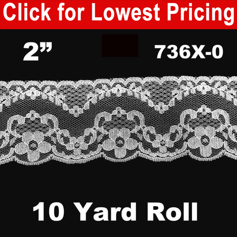 "Lace Trim (2"") - 10 Yard Roll #LW736X (White) - HomeTex.ca"