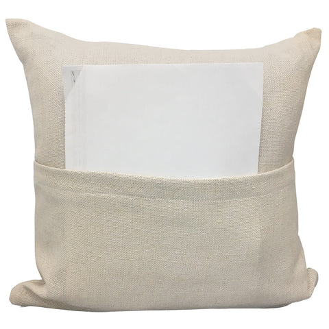 "Blank Sublimation Linen-Look Pocket Pillow Cover - 16"" x 16"" with 14"" wide zipper - HomeTex.ca"
