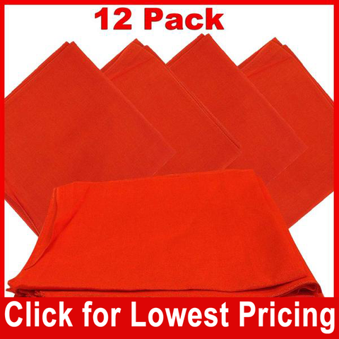 Orange Bandana - 100% Cotton - Solid Color - 12 Pack - HomeTex.ca