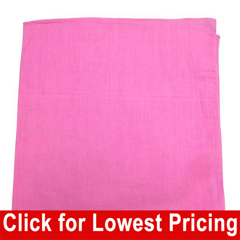 Pink Bandana - 100% Cotton - Solid Color - 12 Pack - HomeTex.ca
