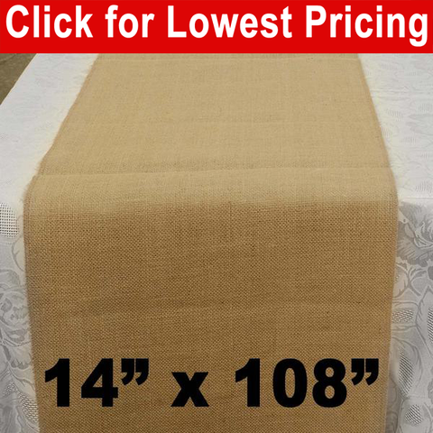 "Premium Burlap Table Runner 14"" x 108"" - HomeTex.ca"