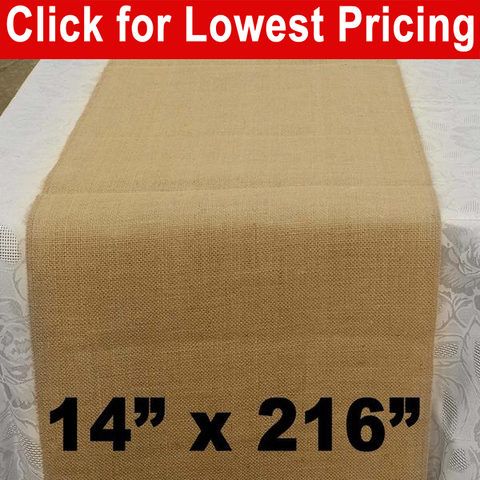 "Premium Burlap Table Runner 14"" x 216"" - HomeTex.ca"