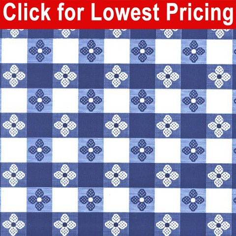 Printed Table Vinyl Full Roll (40 yards) - Tavern Check Blue - HomeTex.ca