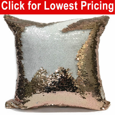 "Reversible Flip Sequin 16"" x 16"" Sublimation Mermaid Pillow Cover  (Rose-Gold White)"