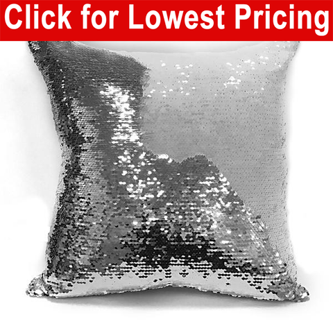"Reversible Flip Sequin 16"" x 16"" Sublimation Mermaid Pillow Cover (White Silver) - HomeTex.ca"