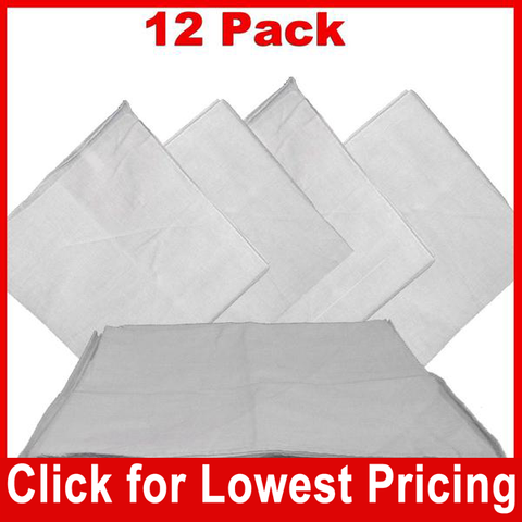 White Bandana - 100% Cotton - Solid Color - 12 Pack - HomeTex.ca
