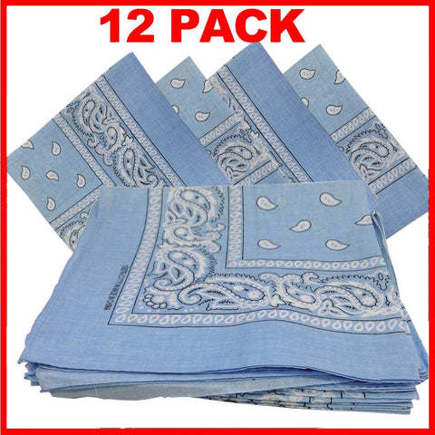 Light Blue Bandana - Dozen (Paisley) - HomeTex.ca
