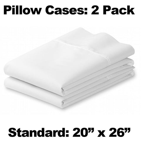 Pair of White Pillow Cases - Standard Size - HomeTex.ca