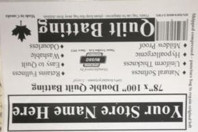 private label progarm for retailers of quilt batting