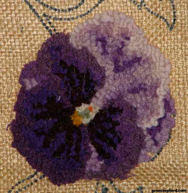 Burlap Rug Hooking Design Close