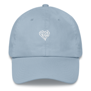 gentle blue messy heart hat