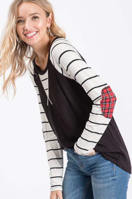Striped Shirt with Patch Elbow