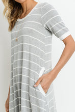 Load image into Gallery viewer, Grey and White Striped Dress