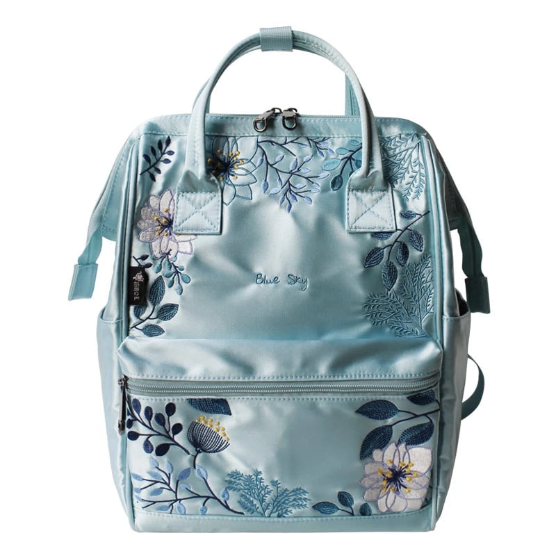 Blue Sky Embroidery Canvas Backpack - doitRight.store