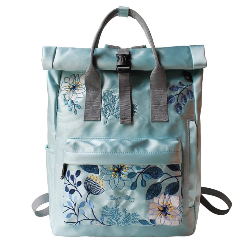 Blue Sky Embroidery Canvas Backpack