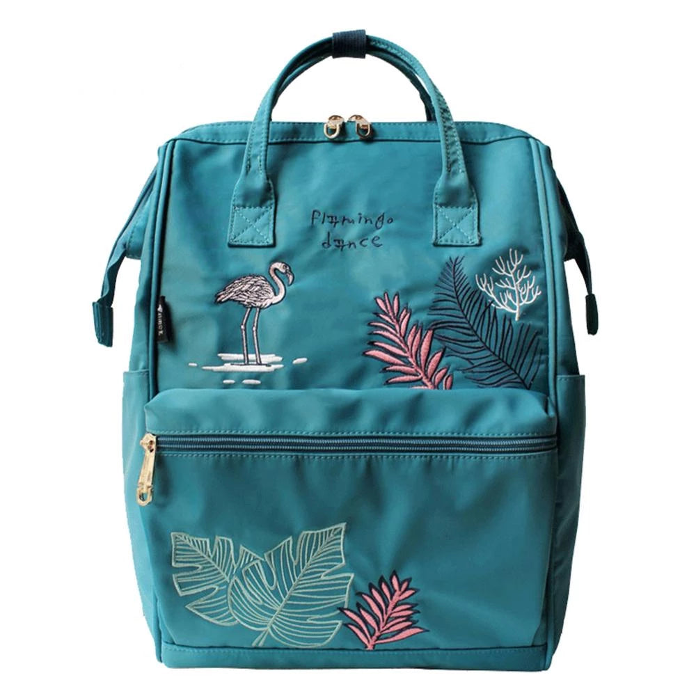 Flamingo Embroidery Canvas Backpack - doitRight.store
