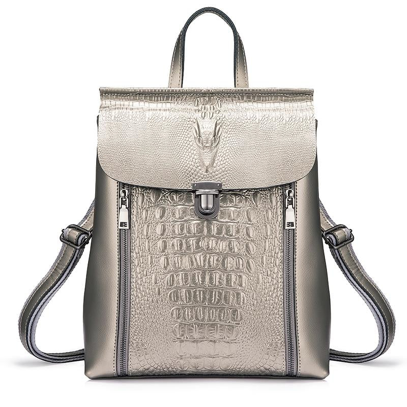 Crocodile Two-zipper Backpack