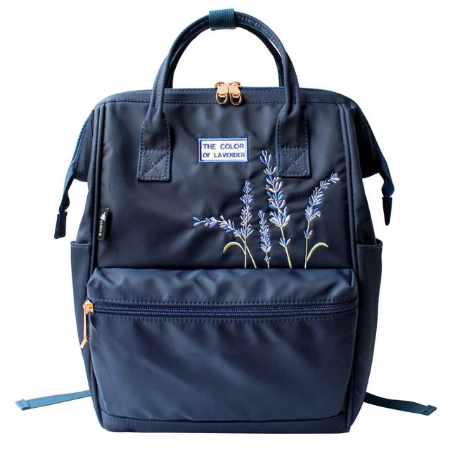 Lavender Embroidery Canvas Backpack - doitRight.store