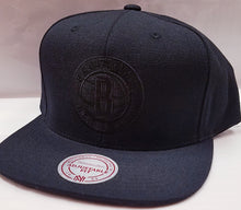 Load image into Gallery viewer, Mitchell & Ness Wool Solid Black Brooklyn Nets Snapback