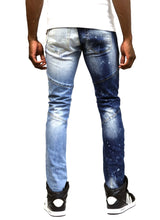 Load image into Gallery viewer, Larkspur Limited Premium Washed Half and Half Skinny Denim Pants.