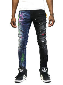 Aspen Limited Premium Washed Half and Half Skinny Denim Pants.