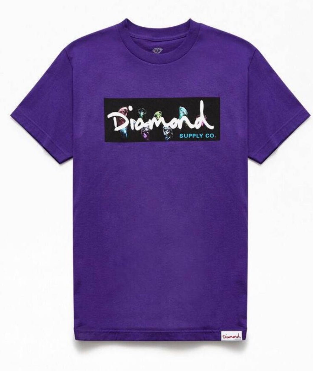 DIAMOND Color Box Logo Mens T-shirt purple