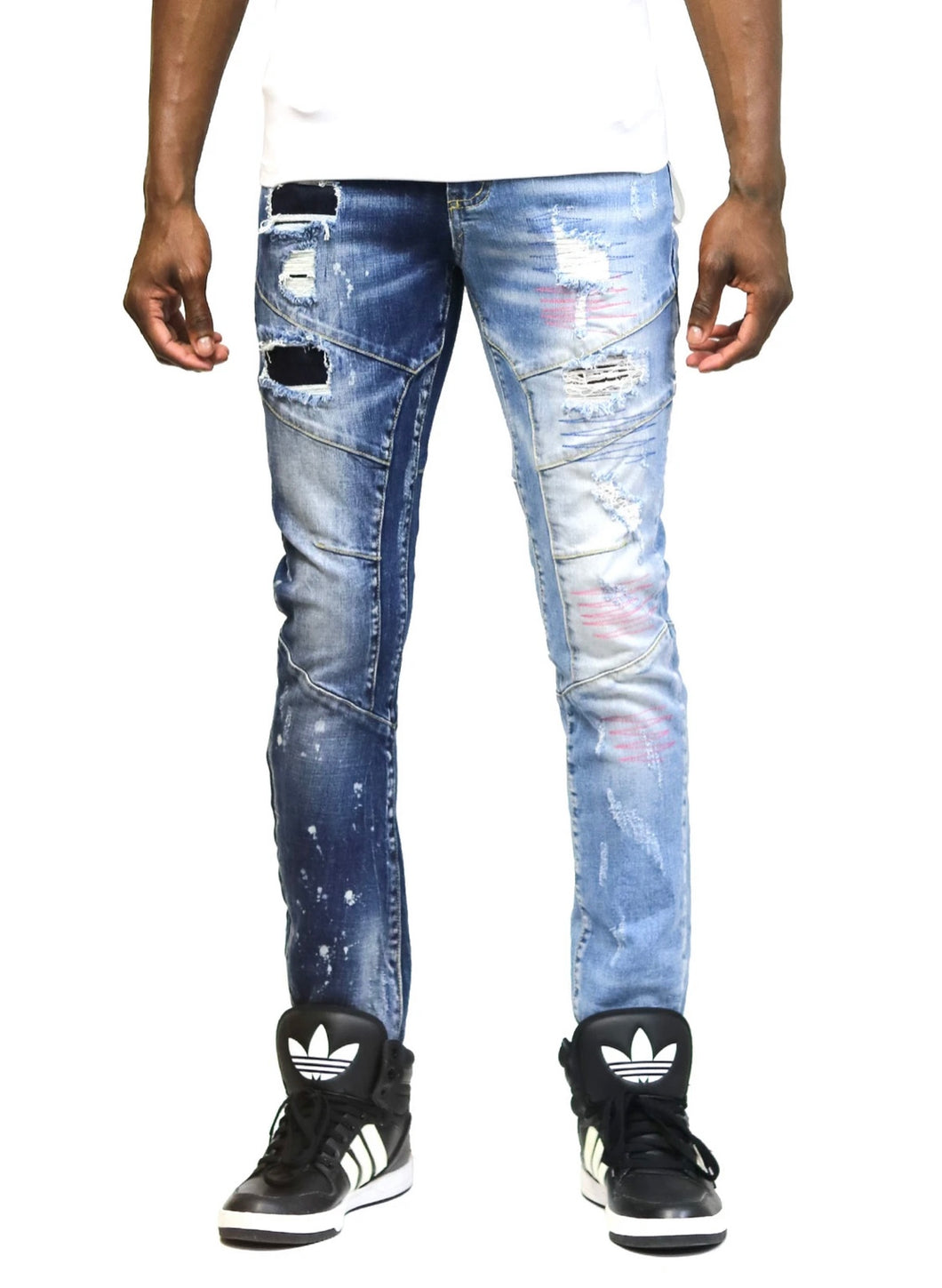 Larkspur Limited Premium Washed Half and Half Skinny Denim Pants.